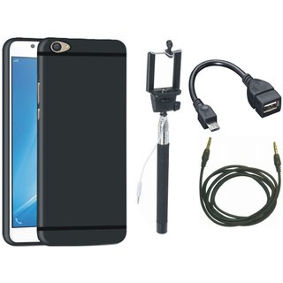 Vivo V5 Plus Soft Silicon Slim Fit Back Cover with Selfie Stick, OTG Cable and AUX Cable