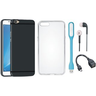 Vivo V5 Plus Soft Silicon Slim Fit Back Cover with Silicon Back Cover, Earphones, USB LED Light and OTG Cable