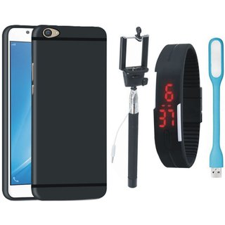 Vivo V5 Plus Soft Silicon Slim Fit Back Cover with Selfie Stick, Digtal Watch and USB LED Light