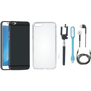 Vivo V5 Plus Soft Silicon Slim Fit Back Cover with Silicon Back Cover, Selfie Stick, Earphones, USB LED Light and AUX Cable