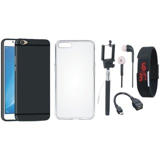 Vivo V5 Plus Soft Silicon Slim Fit Back Cover with Silicon Back Cover, Selfie Stick, Digtal Watch, Earphones and OTG Cable