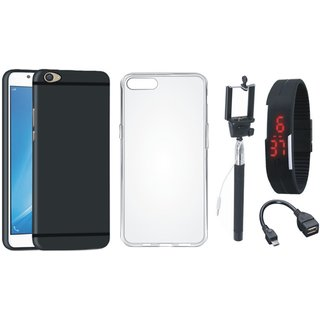 Oppo A37F Ultra Slim Back Cover with Silicon Back Cover, Selfie Stick, Digtal Watch and OTG Cable