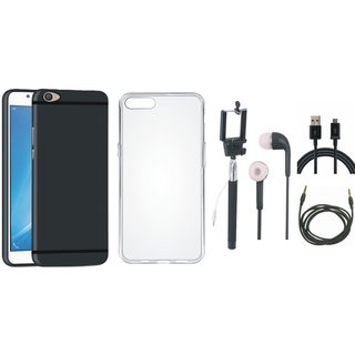 Oppo A37F Ultra Slim Back Cover with Silicon Back Cover, Selfie Stick, Earphones, USB Cable and AUX Cable
