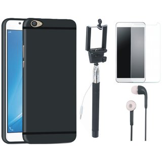 Vivo V5 Plus Soft Silicon Slim Fit Back Cover with Free Selfie Stick, Tempered Glass and Earphones