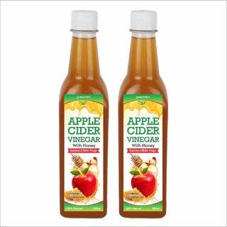 Biotrex Apple cider with Honey and mother Vinegar - 500 ml Pack of 2