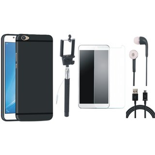 Vivo V5 Plus Soft Silicon Slim Fit Back Cover with Free Selfie Stick, Tempered Glass, Earphones and USB Cable