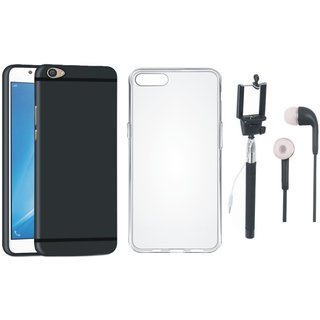 Oppo A37F Silicon Anti Slip Back Cover with Silicon Back Cover, Selfie Stick and Earphones