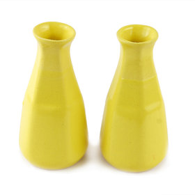 Clay Aesthetics Six Face Yellow Bud Vase - Set Of Two
