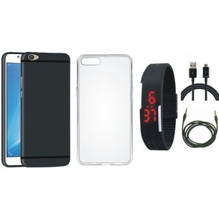 Oppo A37F Back Cover with Silicon Back Cover, Digital Watch, USB Cable and AUX Cable