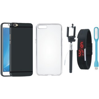 Oppo A37F Back Cover with Silicon Back Cover, Selfie Stick, Digtal Watch and USB LED Light