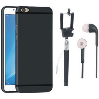 Vivo V5 Plus Silicon Anti Slip Back Cover with Selfie Stick and Earphones