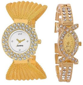 Varni Retail Double Diamond White Dial And AKS Girls Wrist Watch Combo For Women 6 month warranty