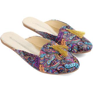Be You Purple Geometric Printed Women's Mules / Slip on / Flats