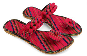 Be You Red Tie & Dye Women's Jaipuri Flats / Ethnic Sli