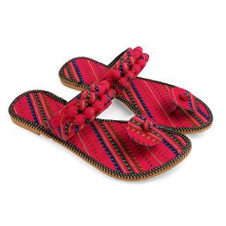 Be You Red Tie & Dye Women's Jaipuri Flats / Ethnic Slipper