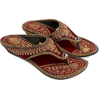 Be You Maroon Embroideried Women's Sandal Flats
