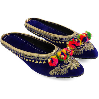 Be You Blue Embroideried  Pom Pom Women's Flat Ethnic Footwear