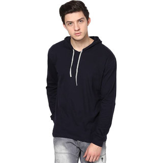 Adorbs Solid Men's Hooded Navy Blue T-Shirt