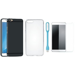 Motorola Moto C Ultra Slim Back Cover with Silicon Back Cover, Tempered Glas and USB LED Light