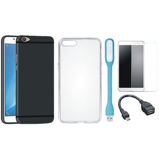 Moto E4 Stylish Back Cover with Silicon Back Cover, Tempered Glass, USB LED Light and OTG Cable