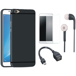 Moto E4 Silicon Anti Slip Back Cover with Tempered Glass, Earphones and OTG Cable