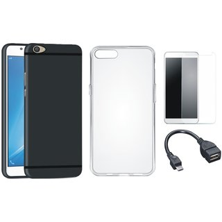 Moto E4 Silicon Anti Slip Back Cover with Silicon Back Cover, Tempered Glass and OTG Cable