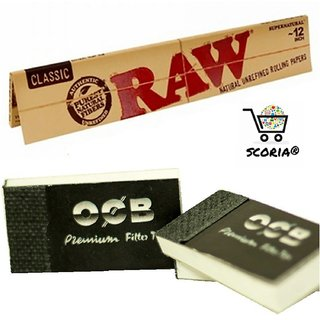 SCORIA King Size RAW CLASSIC Rolling Paper Pack Of 4 + 2 Rouch Book Pad (128 Leaves)