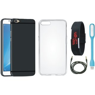 Motorola Moto E4 Plus Cover with Silicon Back Cover, Digital Watch, USB LED Light and AUX Cable