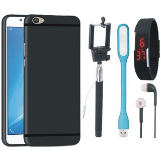 Samsung J7 Pro SM-J730G Soft Silicon Slim Fit Back Cover with Selfie Stick, Digtal Watch, Earphones and USB LED Light
