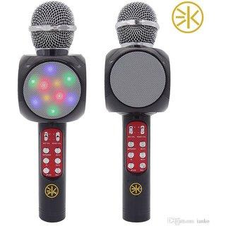 3Keys Wireless Portable Karaoke Handheld Singing Machine Condenser Microphone with LED Lights for Singing Black