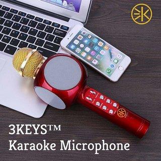 3Keys Wireless Portable Karaoke Handheld Singing Machine Condenser Microphone with LED Lights for Singing  White