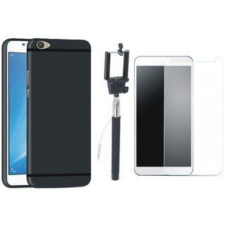 Moto C Back Cover with Free Selfie Stick and Tempered Glass