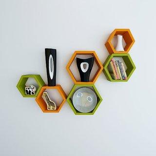 Santosha Decor Hexagon Shape Set of 6 Floating Wall Shelves/ Wall shelf and Racks / Book Shelf For Living Room (Green Orange)
