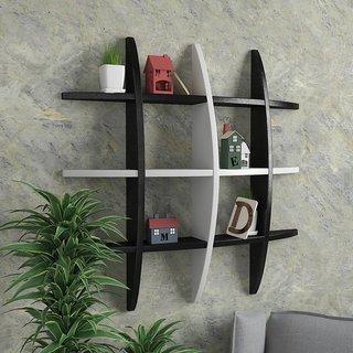 Santosha Decor Home Decor Globe Shape Floating Wall Shelves / Rack Self / Book Shelf / Living Room Shelves - Black/White