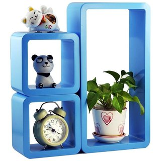 Santosha Decor Wall Decoration Shelf Set of 3 Cube Rectangle Designer Wall Rack And Shelves(Living Room Furniture ) -Blue