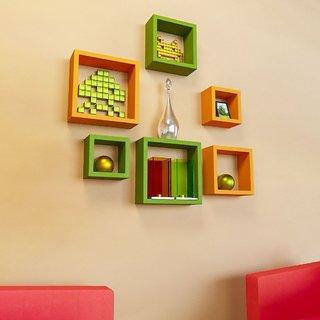 Santosha Decor Square Shape Set of 6 Floating Wall Shelves/ Wall shelf and Racks / Book Shelf For Living Room (Green Orange)