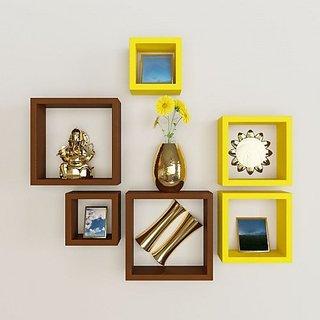 Santosha Decor Square Shape Set of 6 Floating Wall Shelves/ Wall shelf and Racks / Book Shelf For Living Room (Yellow Brown)