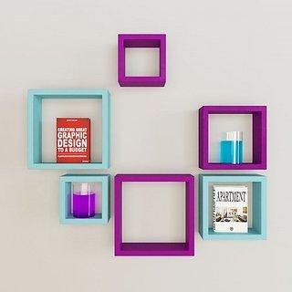 Santosha Decor Square Shape Set of 6 Floating Wall Shelves/ Wall shelf and Racks / Book Shelf For Living Room ( Blue Purple)