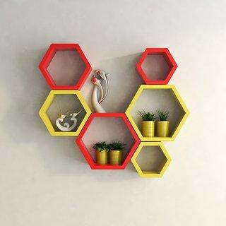 Santosha Decor Hexagon Shape Set of 6 Floating Wall Shelves/ Wall shelf and Racks / Book Shelf For Living Room (Red Yellow)