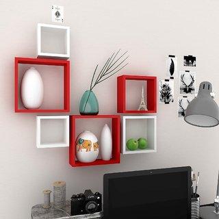 Santosha Decor Square Shape Set of 6 Floating Wall Shelves/ Wall shelf and Racks / Book Shelf For Living Room (Red White)