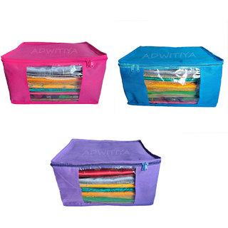 ADWITIYA Set of 3 Pcs Plain 10 Inch Large Nonwoven Saree Salwar Suit Shirt Jeans Bedsheet Garment Cloth Cover Case