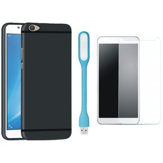Samsung On7 Prime Ultra Slim Back Cover with Tempered Glas and USB LED Light