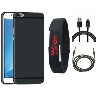 Samsung J7 Pro Silicon Anti Slip Back Cover with Digital Watch, USB Cable and AUX Cable