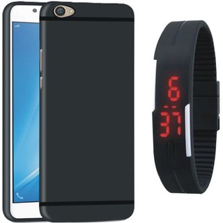 Samsung On7 Prime Silicon Anti Slip Back Cover with Digital Watch