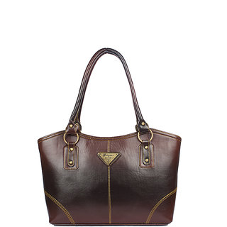 Aliado Faux Leather Brown Coloured Zipper Closure Formal Bag