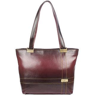 Aliado Faux Leather Magenta Coloured Zipper Closure Formal Handbag
