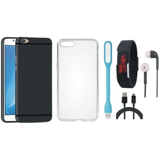 Samsung C7 Pro Back Cover with Silicon Back Cover, Digital Watch, Earphones, USB LED Light and USB Cable