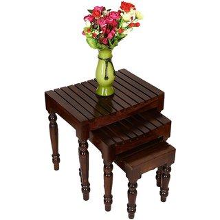 Santosha Decor Solid Sheesham Wood Nesting Table / Stool Set / Bedside Table / Sofa Side Table (Set Of 3) - Living Room Furniture With SPECIAL PU POLISH(Walnut Finishing )