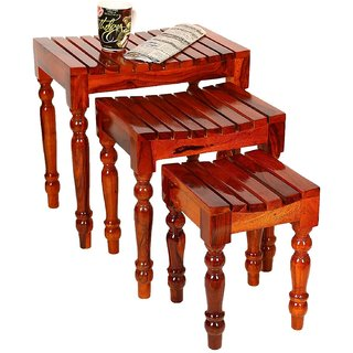 Santosha Decor Solid Sheesham Wood Nesting Table / Stool Set / Bedside Table / Sofa Side Table (Set Of 3) - Living Room Furniture With SPECIAL PU POLISH(Teak Finishing )