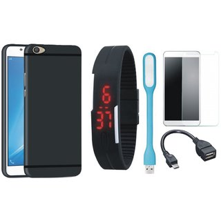 Samsung C9 Pro Stylish Back Cover with Free Digital LED Watch, Tempered Glass, LED Light and OTG Cable